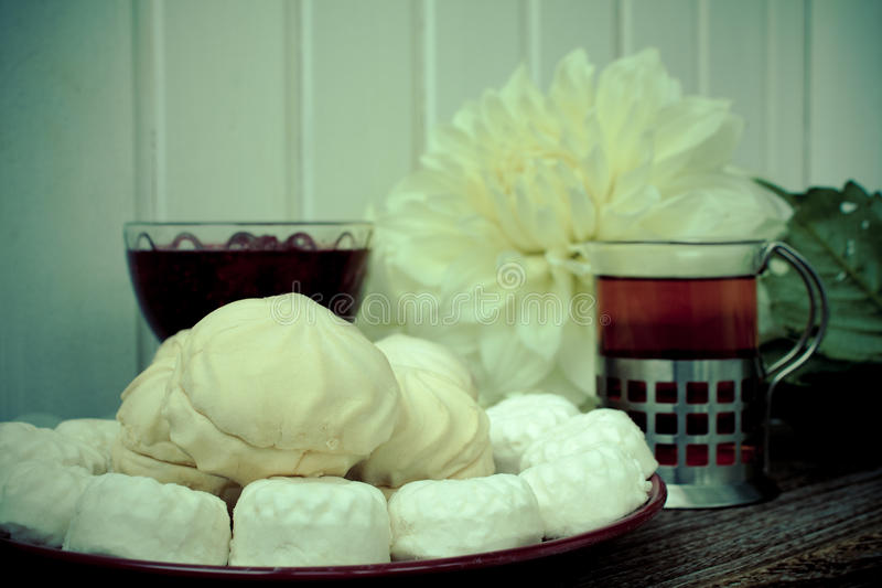 Food marshmallow jam raspberry flowers royalty free stock images
