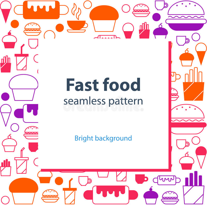 Food menu abstract template and background. Fast food seamless pattern, linear background, backdrop, vector illustration royalty free illustration