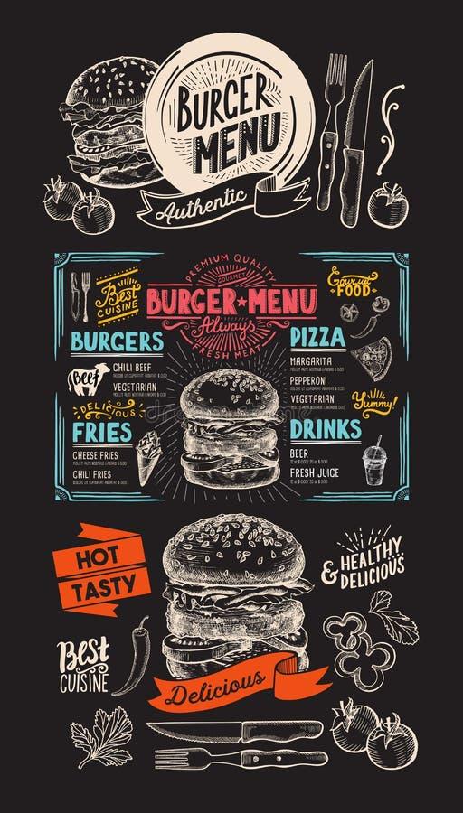 Food menu for burger restaurant. Vector food flyer for bar and. Cafe. Design template with vintage hand-drawn illustrations stock illustration