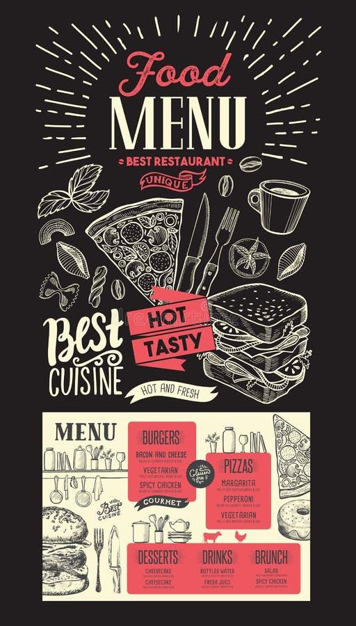 Food menu for restaurant. Vector template on chalkboard background. Design flyer with vintage hand-drawn illustrations. royalty free illustration