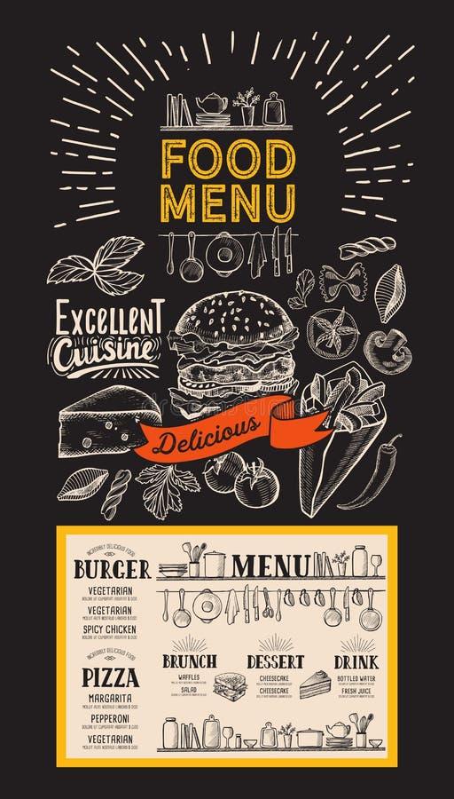 Food menu template for restaurant. Flyer for bar and cafe on blackboard background. Design with vintage hand-drawn illustrations. Food menu template for stock illustration