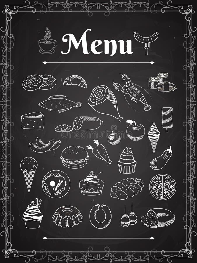 Food menu. Vector food menu elements on chalk board royalty free illustration
