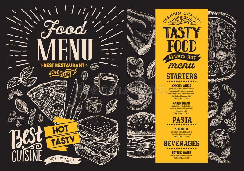 Food menu. Vector restaurant flyer on blackboard background. Design template with vintage hand-drawn illustrations. stock illustration