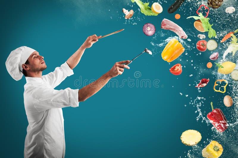 Food musical harmony. Chef creates a musical harmony with food royalty free stock photo