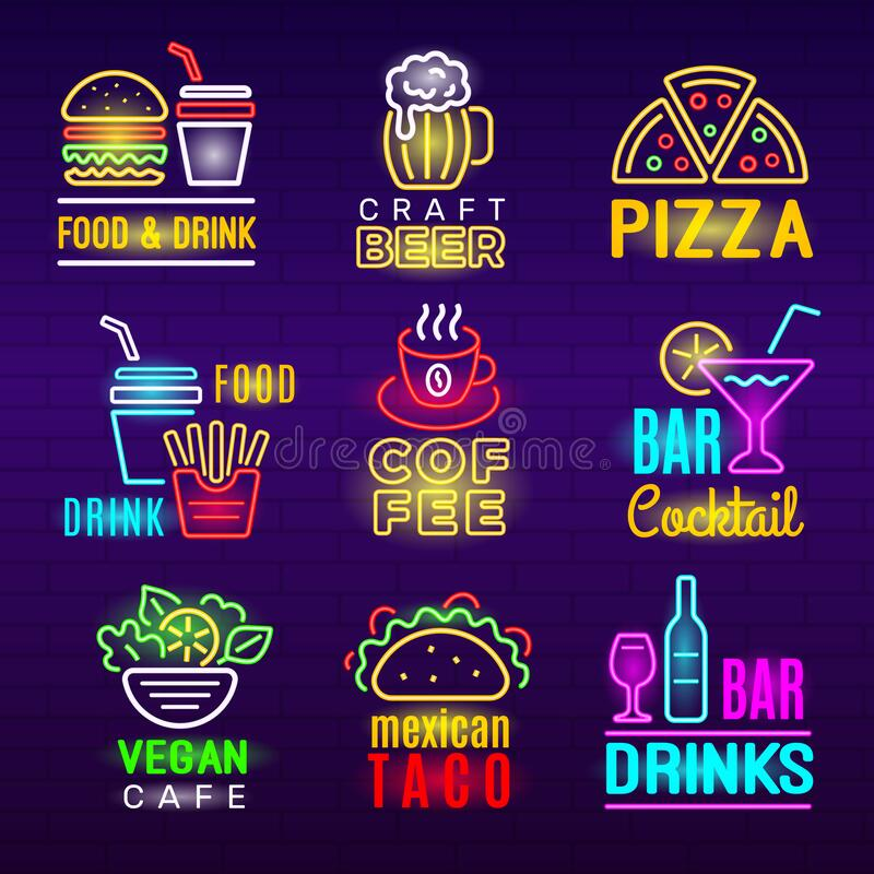 Food neon icon. Beer drinks light advertising emblem pizza craft products vector set stock illustration