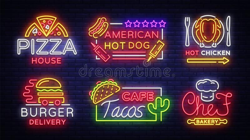 Food neon sign vector collection. Set neon logos, emblems, symbols, Pizza House, American Hot Dog, Hot Chicken, Burger vector illustration