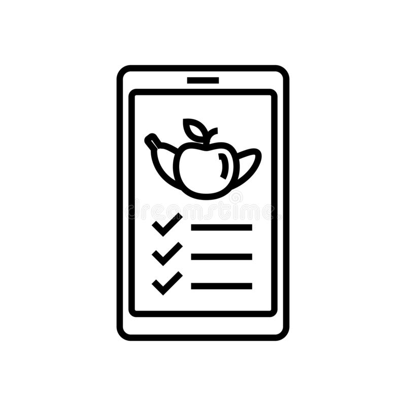 Food nutrition list mobile app icon. smartphone with fruit symbol for diet plan application. simple monoline graphic vector illustration