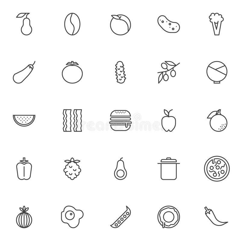 Food nutrition outline icons set stock illustration