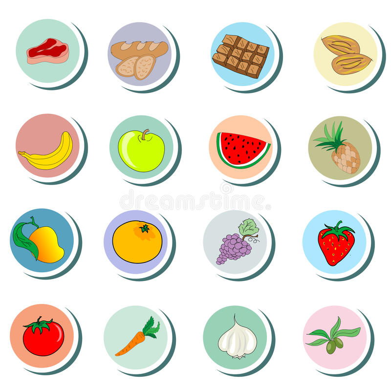 Food objects cartoon Icons. On white background vector illustration