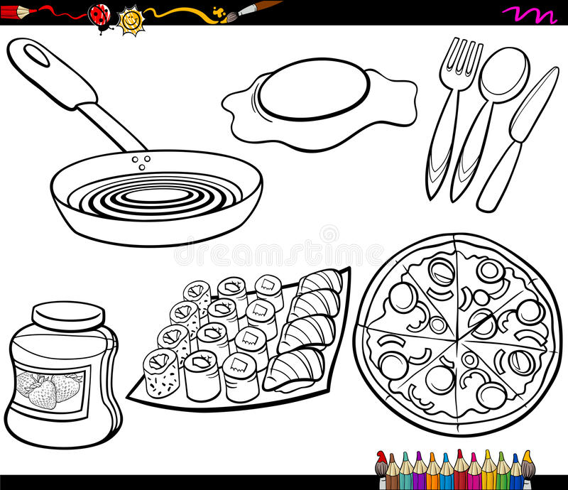 Food Objects Set Coloring Page Stock Vector Illustration of food