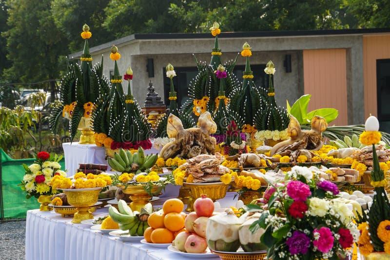 Food offering in Thai Brahmin ceremony. Food offering in the Thai Brahmin ceremony stock images