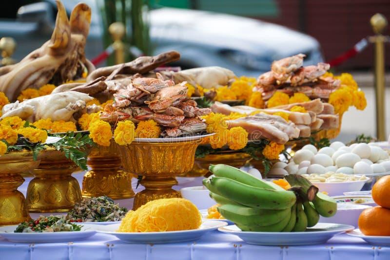 Food offering in Thai Brahmin ceremony. Food offering in the Thai Brahmin ceremony stock photo