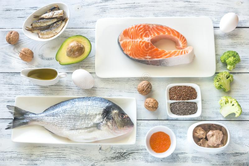 Food with Omega-3 fats. Top view royalty free stock photos