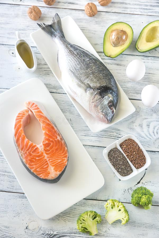 Food with Omega-3 fats. Top view stock photo