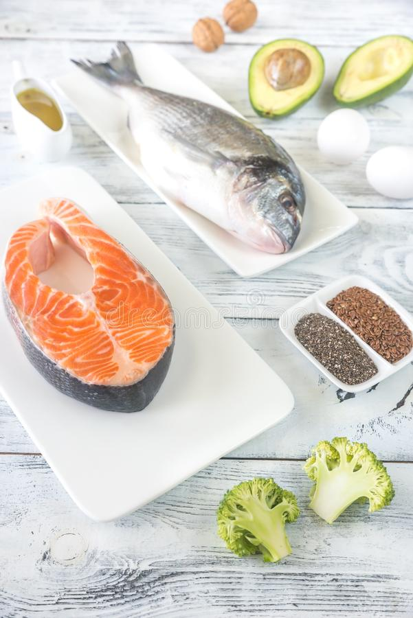 Food with Omega-3 fats. Top view stock photography