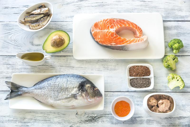 Food with Omega-3 fats. Top view stock images