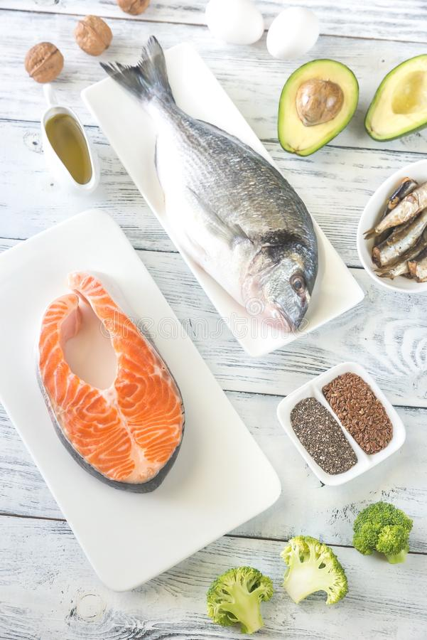 Food with Omega-3 fats. Top view stock photos