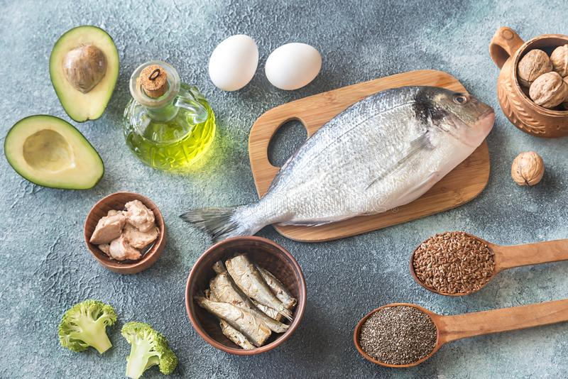 Food with Omega-3 fats stock photography