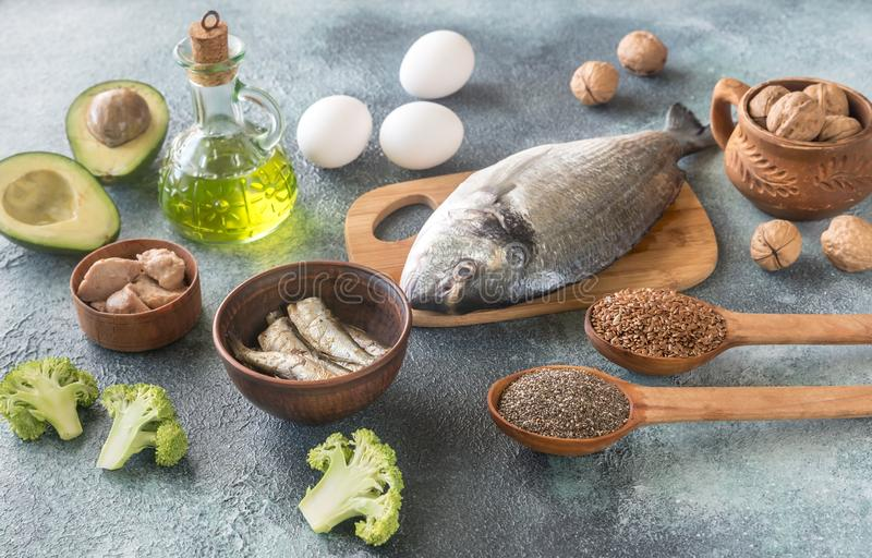 Food with Omega-3 fats royalty free stock photography