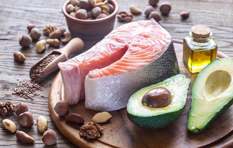 Food with Omega-3 fats royalty free stock photo
