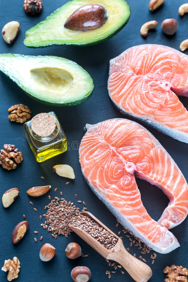 Food with Omega-3 fats royalty free stock image