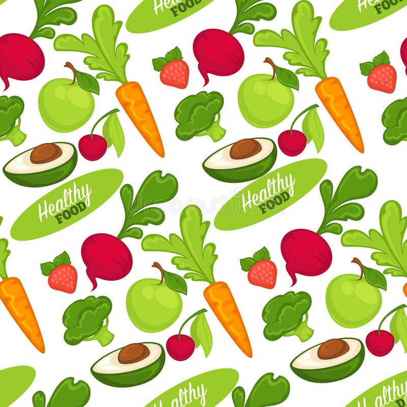 Food organic and healthy fruits and vegetables seamless pattern. Isolated on white background. Carrots and beetroots, strawberries and cherries, avocado and stock illustration