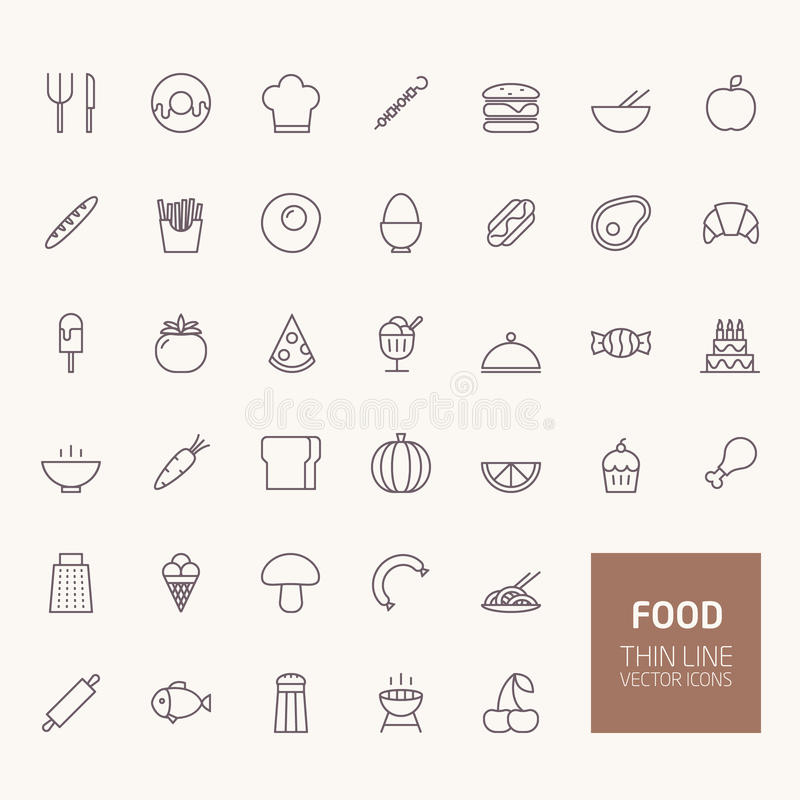 Food Outline Icons stock illustration