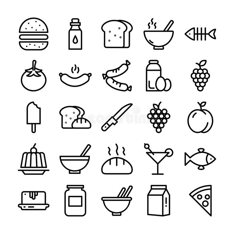 Food Pack of Line Icons royalty free illustration