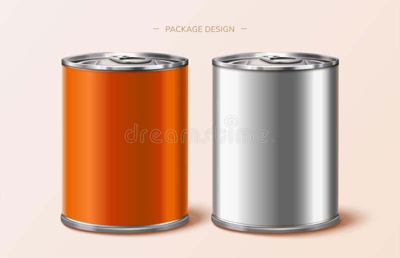 Food package tin design royalty free illustration