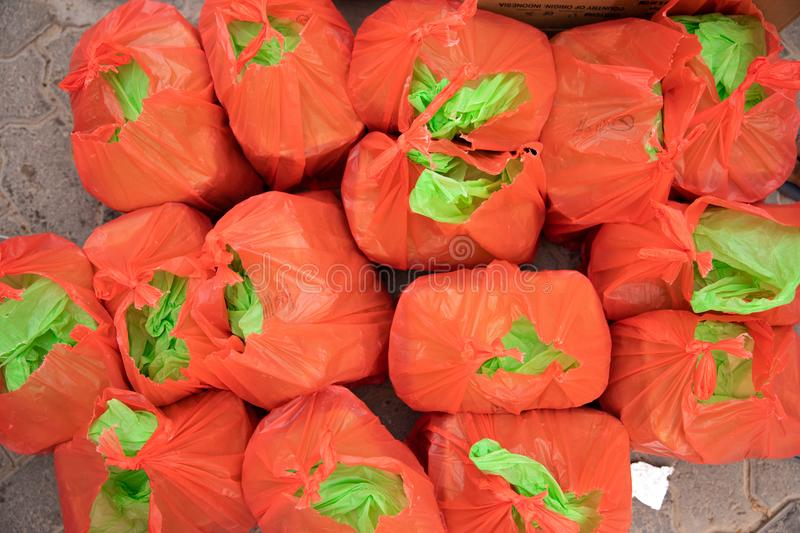 Food packages waiting to be distributed as part of charity. stock images