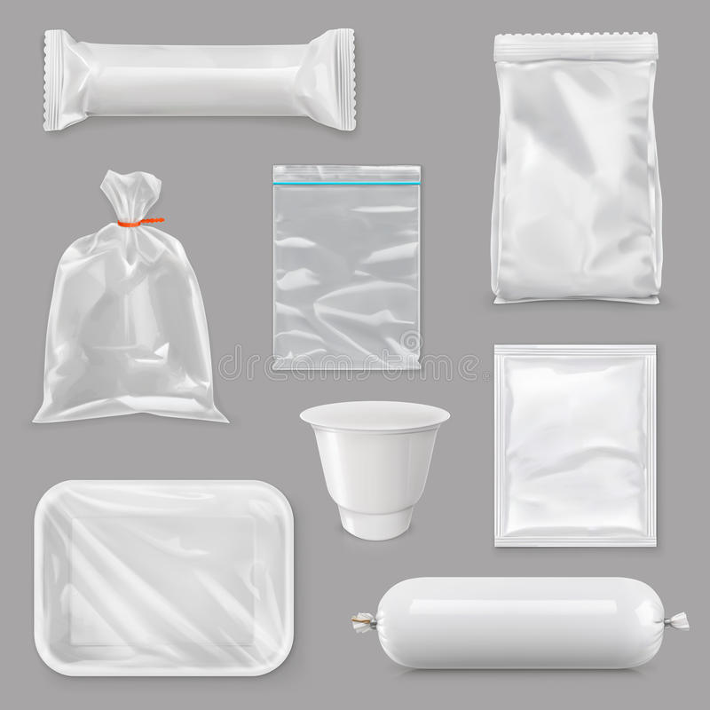 Food packaging for different snack products. Design pack template for branding, merchandise, plastic retail package, sachet, packet, bag, pouch, box, white royalty free illustration