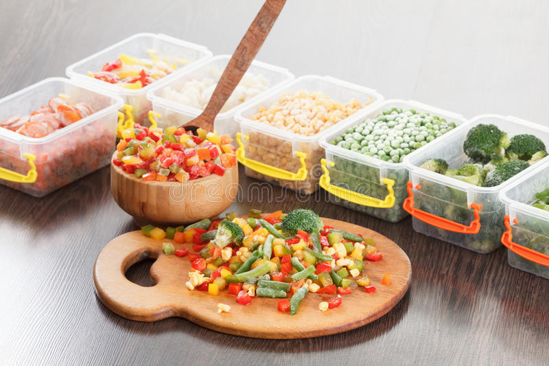 Food packaging ingredients, healthy frozen vegetables. stock photos