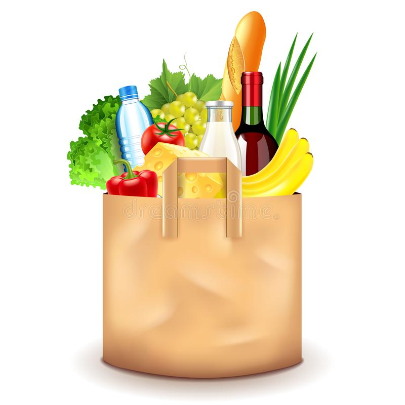 Food in paper bag isolated on white vector illustration. Food in paper bag isolated on white photo-realistic vector illustration stock illustration