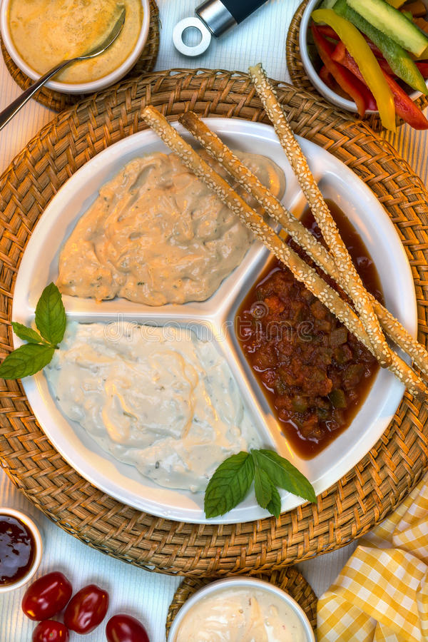 Food - Party Dips - Bread Sticks stock photo