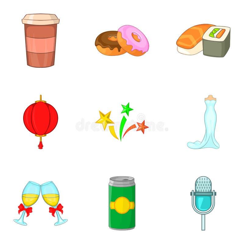 Food party icon set, cartoon style stock illustration