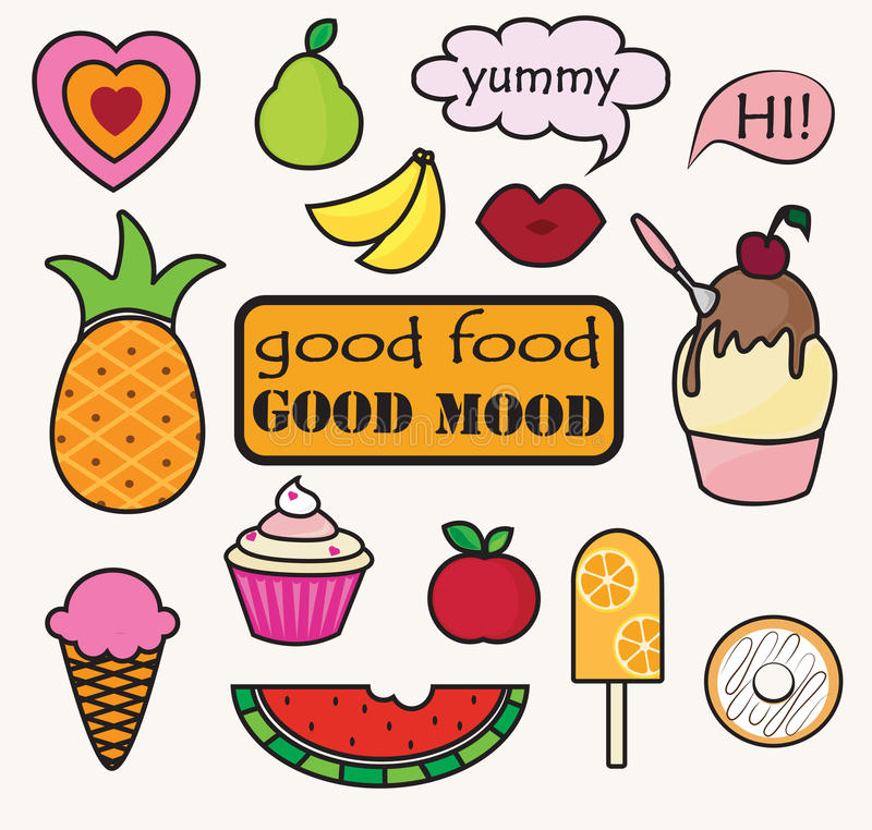 Food patches stock illustration