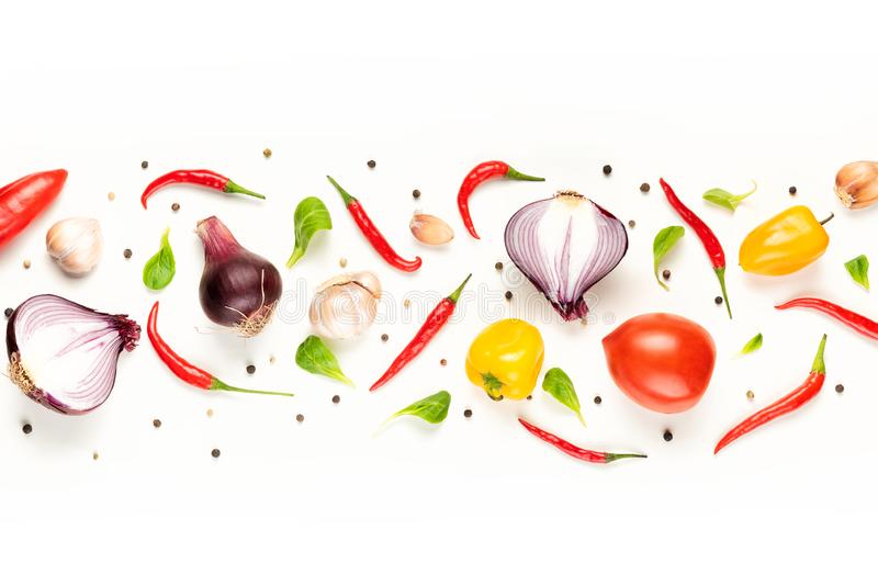 Food pattern composition  with raw fresh vegetables on white background stock photography