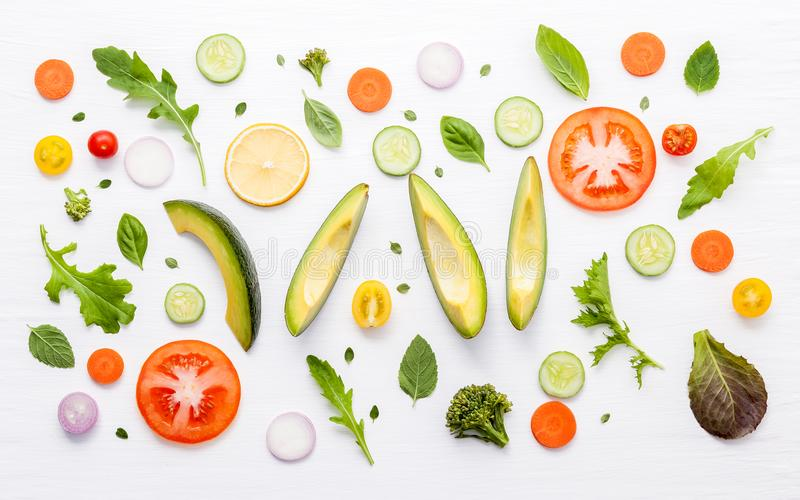 Food pattern with raw ingredients of salad. Various vegetables l royalty free stock image