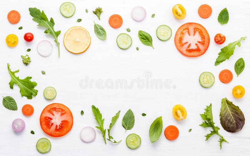 Food pattern with raw ingredients of salad. Various vegetables l stock images