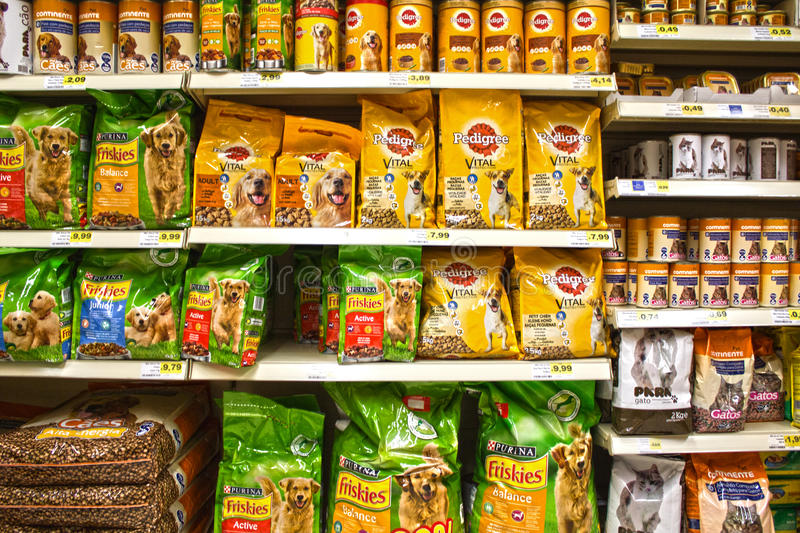 Pet food. A view from a wide range of food products for pets at the supermarket royalty free stock photography