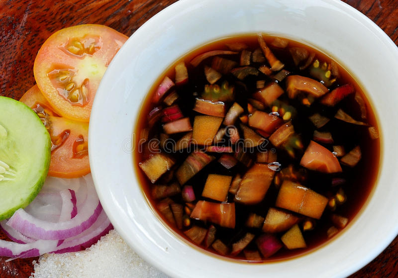 Food from the Philippines, Sawsawan (Sweet-and-Sour Dipping Sauce) stock photo