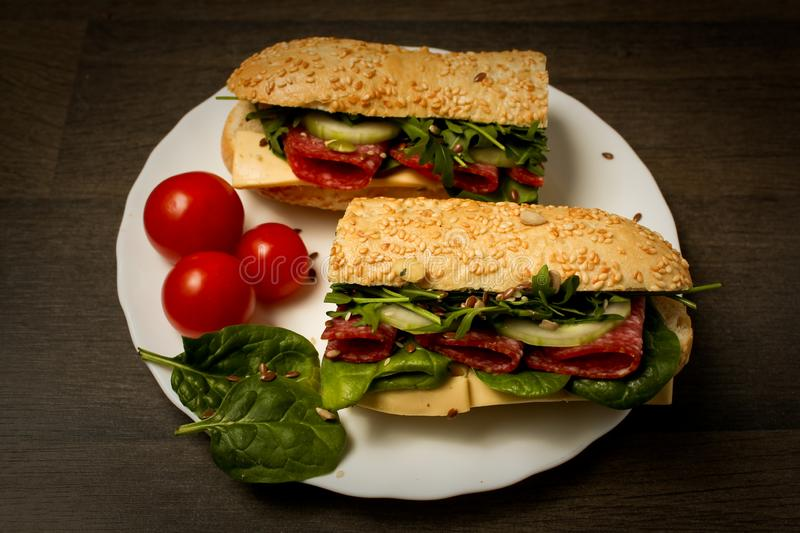 Food photograhphy. Homemade tasty sandwiches. so tasty royalty free stock photography