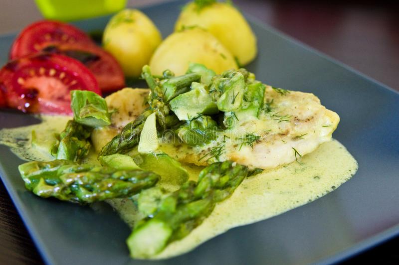 Food photography: chicken breast meat with asparagus and cream sauce stock photo