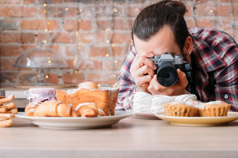 Food photography pastry dessert man photo meringue royalty free stock photo