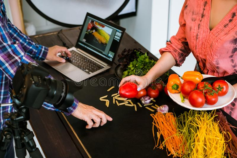 Food photography photographer art blog stylist. Concept royalty free stock image