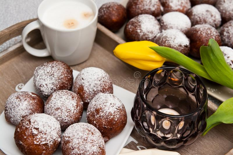 Food photography homemade donuts still life. Food photography, still life photo of tasty homemade donuts made with special recipe, with white powder sugar royalty free stock image