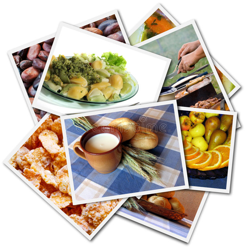 Food photos collage. Food photos isolated on the white background stock photos