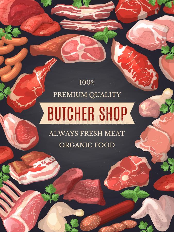 Food pictures set. Illustrations of meat. Poster for butcher shop royalty free illustration