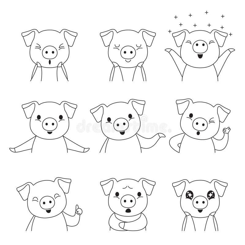 Pig Outline Emoticons Icons Set, Year Of The Pig stock illustration