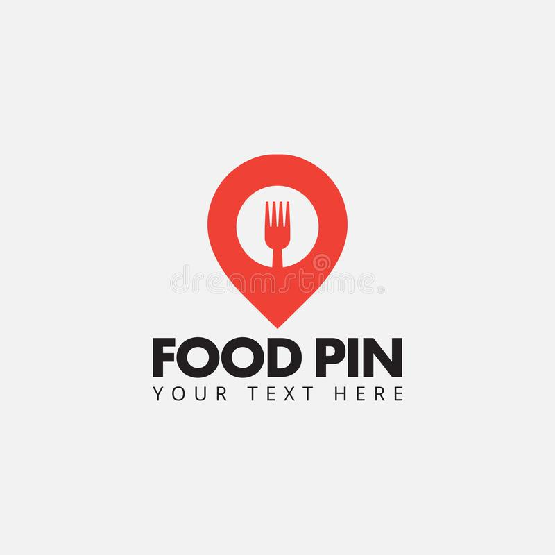 Food pin logo design template vector isolated. Hungry, fork, utensil, spoon, eat, restaurant, symbol, graphic, idea, creative, label, icon, element, flat royalty free illustration